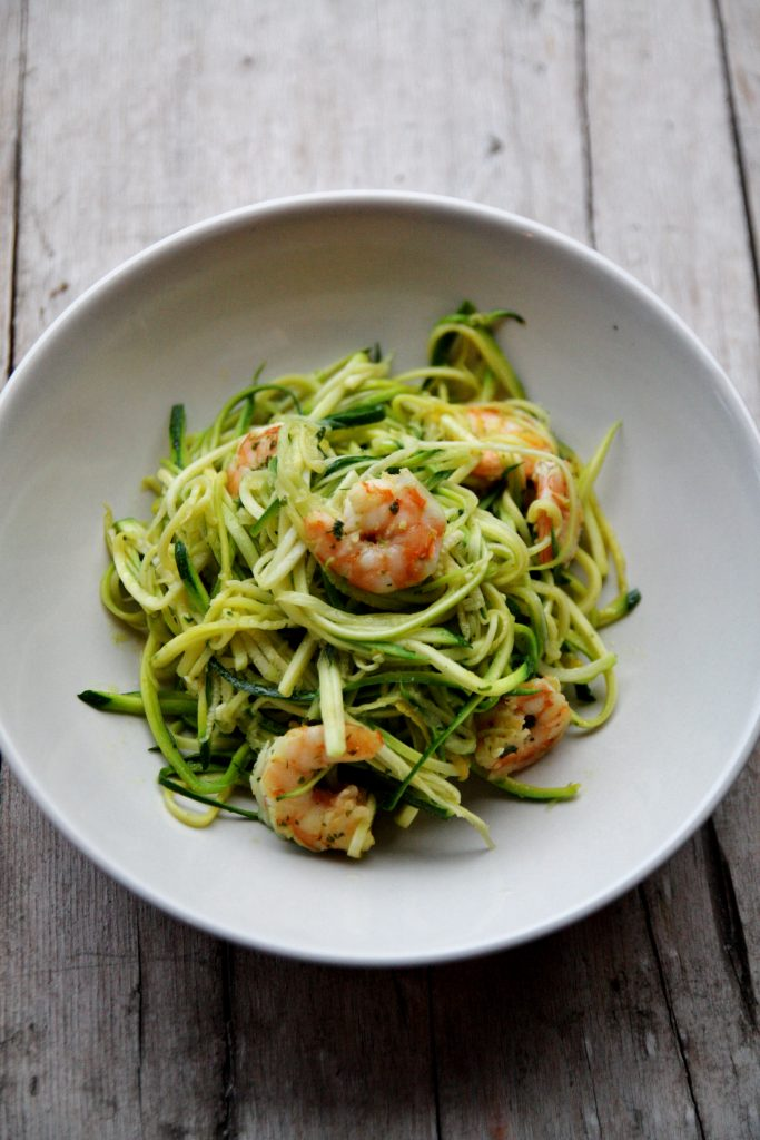 spaghetti di zucchine e mazzancolle