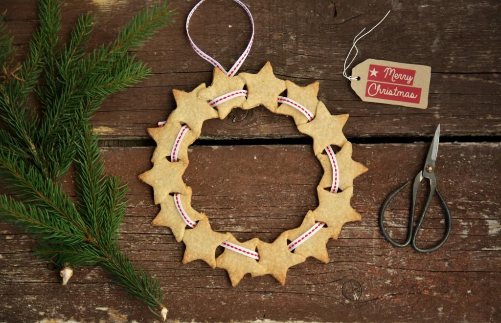 ghirlanda di biscotti per Natale