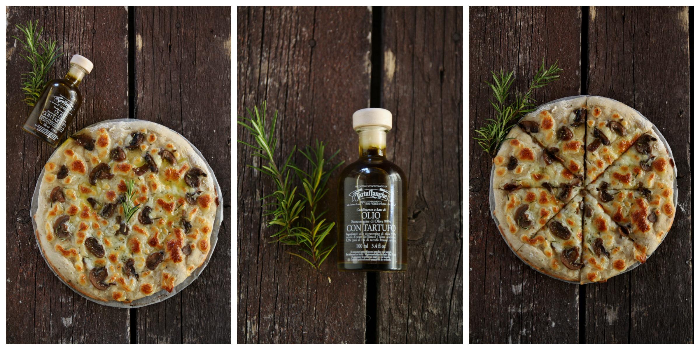 pizza bianca con funghi e rosmarino Collage
