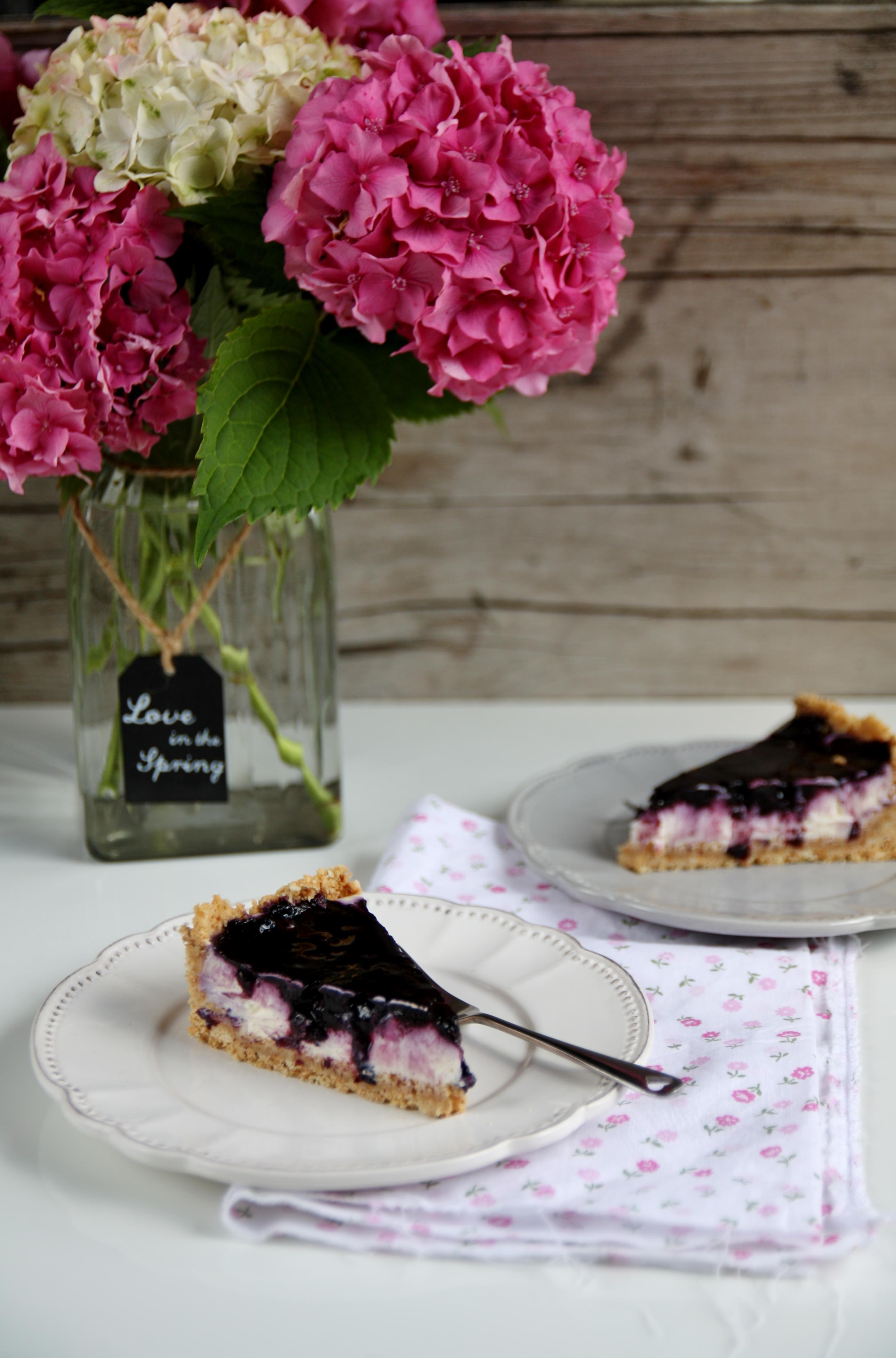 Cheesecake al mascarpone e marmellata di mirtilli