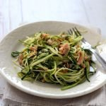 Spaghetti di zucchine con trota salmonata di Sutrio