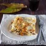 Lasagne con zucca, salsiccia e funghi